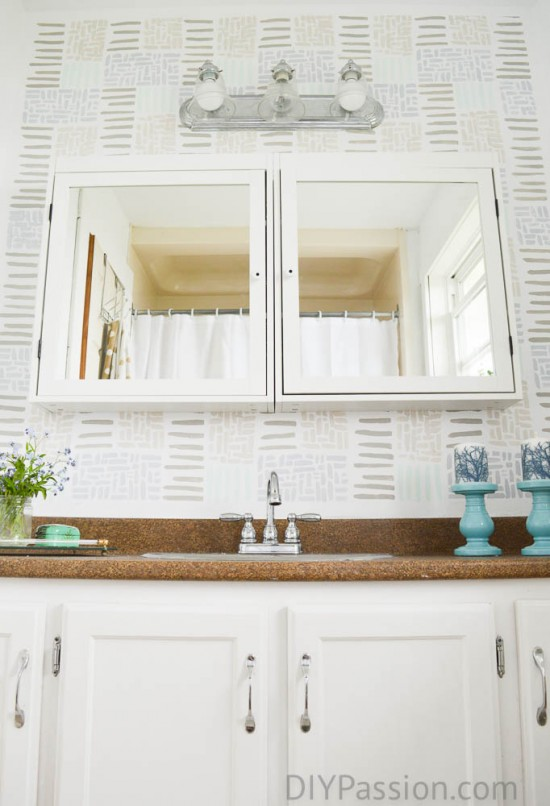 How to disguise an ugly counter in a bathroom