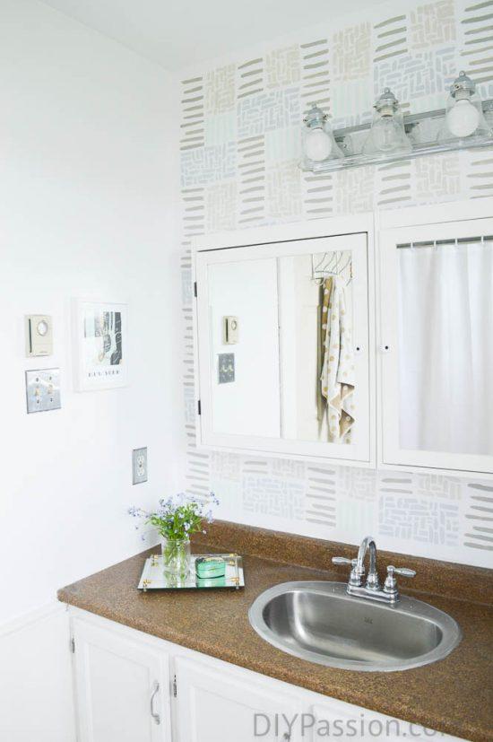 Seaglass Stencil on Bathroom Wall