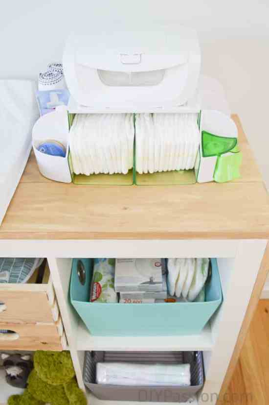 Organize diapering supplies