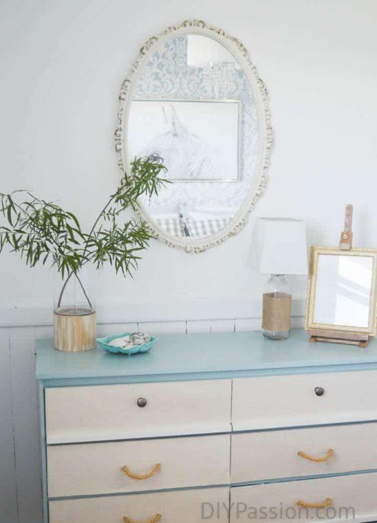Turquoise Dresser in Coastal Inspired Bedroom