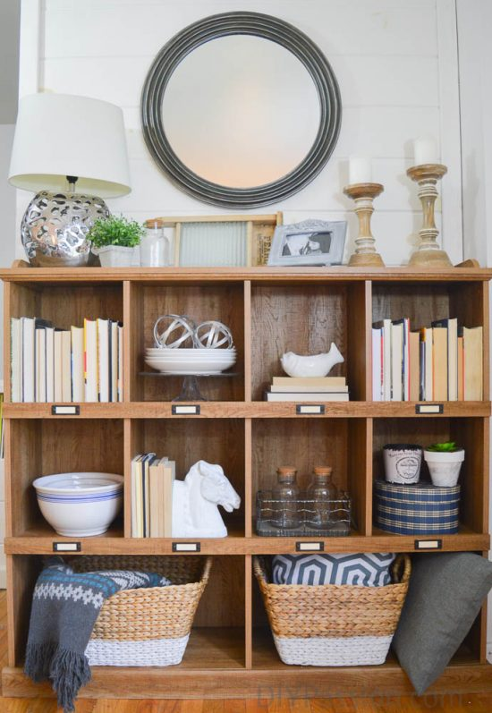 how-to-style-a-rustic-bookcase-with-neutral-decor
