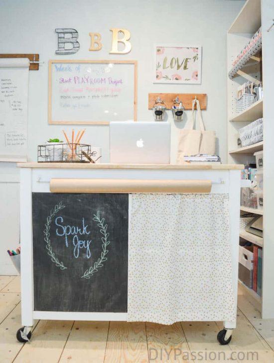 light-aqua-and-white-craft-room-with-diy-craft-cart