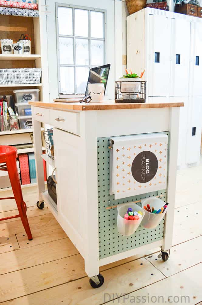 DIY Craft Cart From A Kitchen Cart With Chalkboard And Pegboard Panels U2013 DIY  Passion