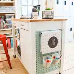 Pegboard Kitchen Commercial Door Diy Craft Cart From A With Chalkboard And ...