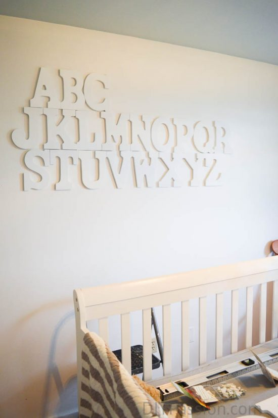 How to Hang an Alphabet Wall above a crib