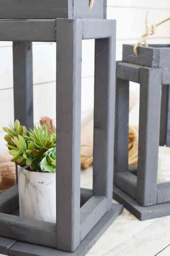 Make your own rustic wooden lanterns for a patio