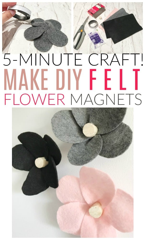 how to make felt flower magnets