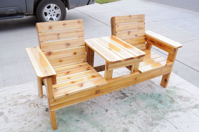 diy patio chairs children s couch and chair set free plans how to build a double bench with table finish furniture