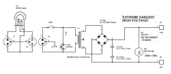 neon sign transformer schematic