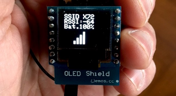 Portable WiFi Scanner with OLED Display (ESP8266): signal strength, connection test to a server