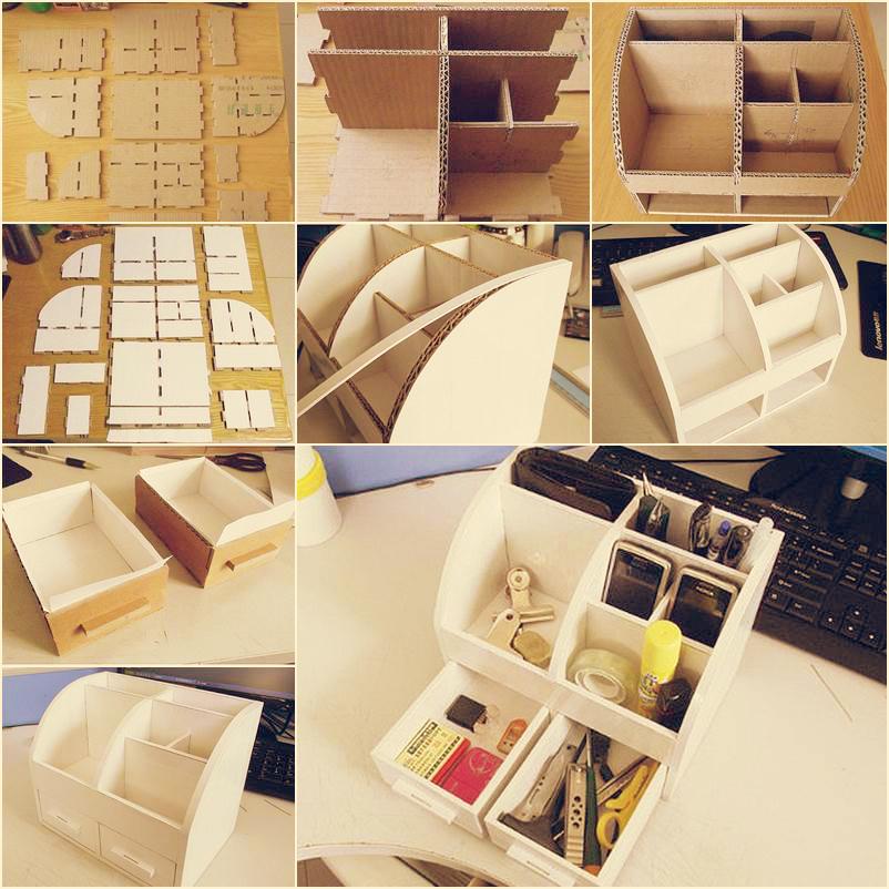 DIY Cardboard Desktop Organizer with Drawers  Diy Smartly