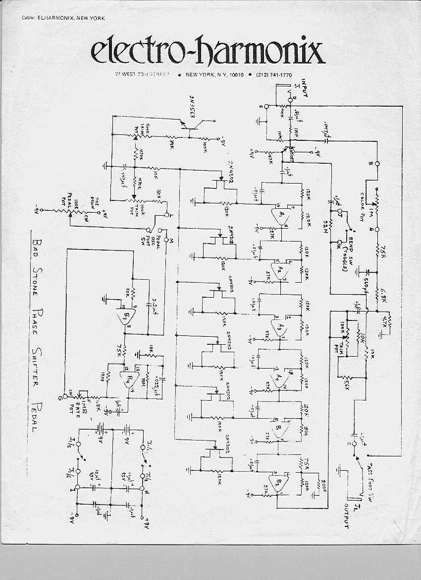 electro harmonix small stone phaser guitar effect circuit diagram