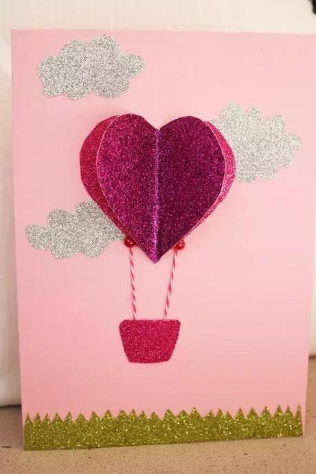 hjärtkort - en luftballong