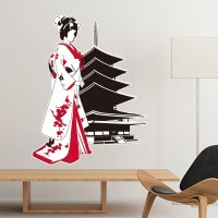 Japan Culture Japanese Style Red Black Kimono Girl Temple ...