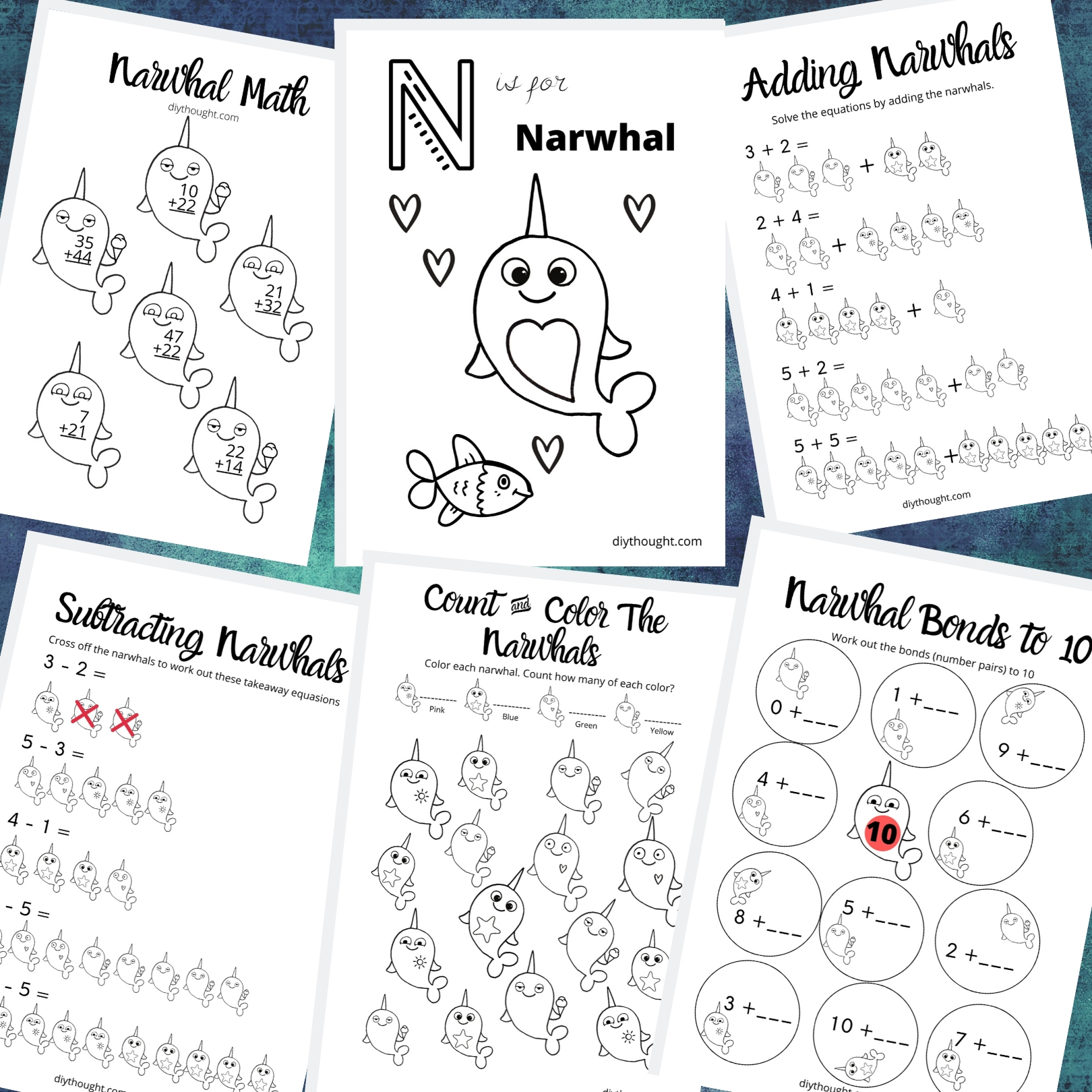 Narwhal Color Amp Math Worksheets