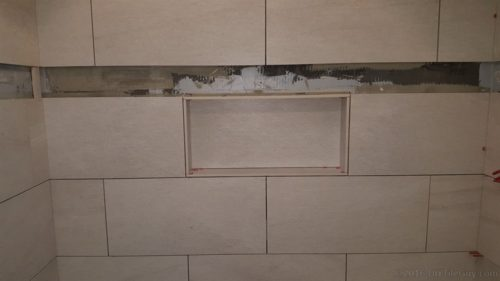 how to build a recessed shampoo shelf