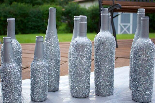Diy Glitter Dipped Vases