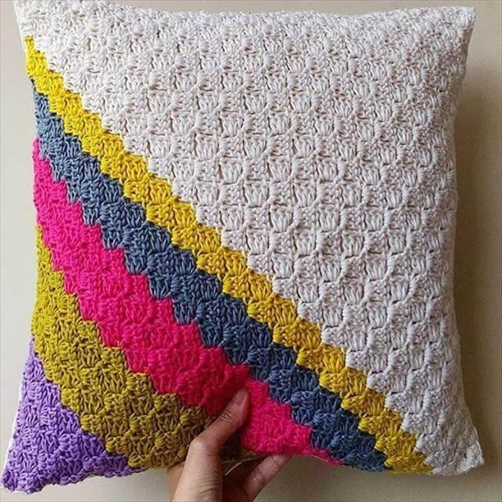 18 Beautiful Free Crochet Pillow  Cushion Patterns  DIY