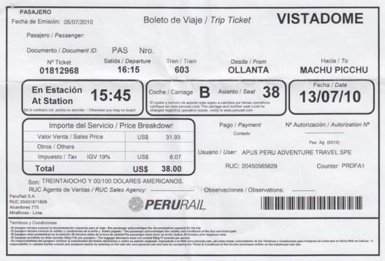 Peru Rail Ticket