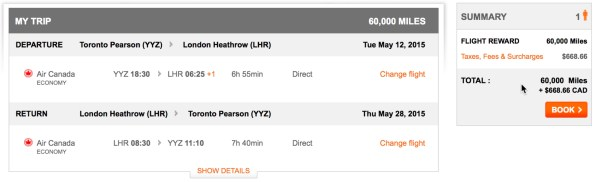 Air Canada Surcharge for Toronto to London