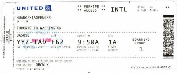 United Express Toronto to Washington Dulles Boarding Pass