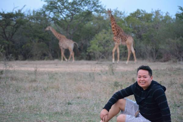 Charles Huang on a private reserve in Kruger National Park, where ground tour is allowed
