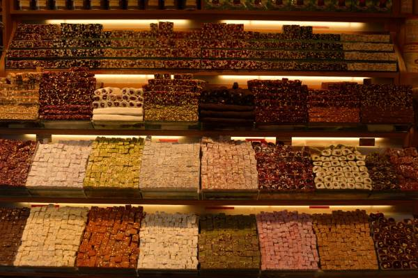 Turkish Delight, jelly sweets consist of starch and sugar with varieties of nuts.