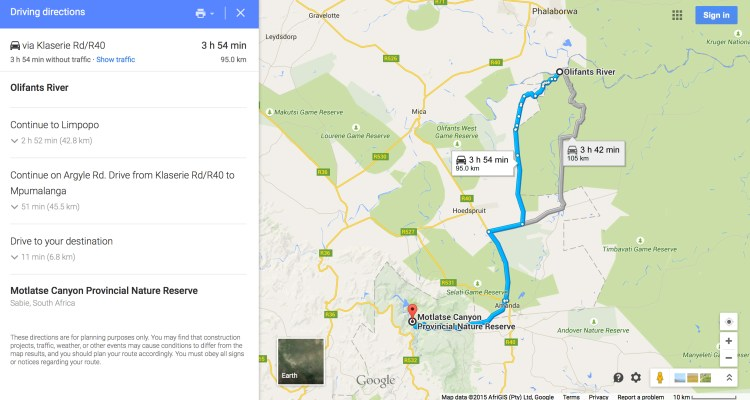 Olifants River to Blyde Canyon