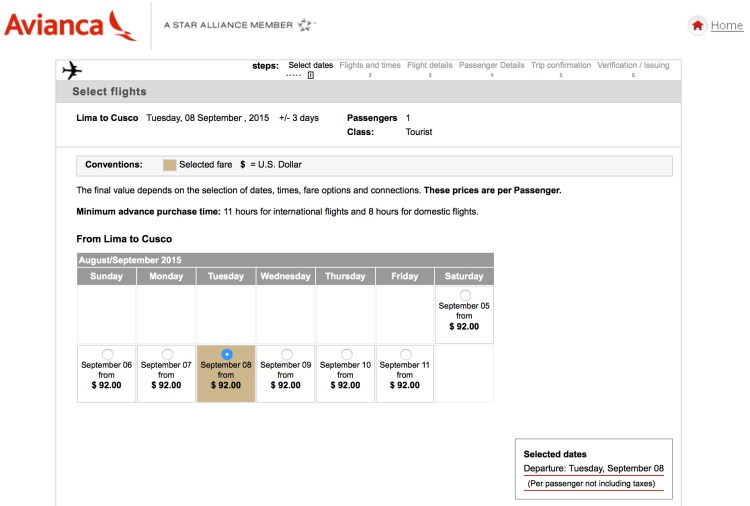 The price quoted for Peru version is only $92.00 USD for the same flight