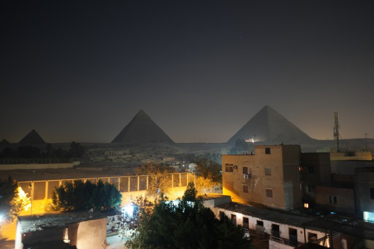 Rooftop Patio View of Great Pyramids, capture the Light Show for free