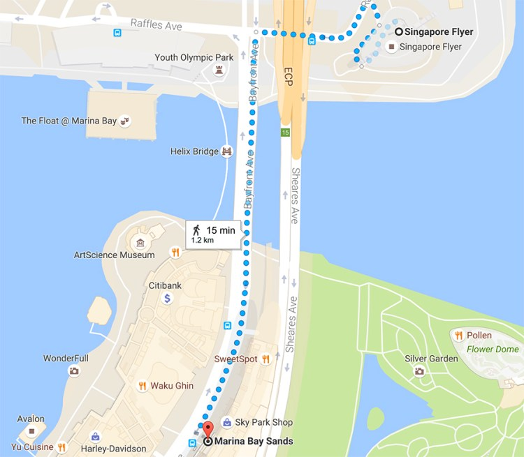 Direction to Marina Bay Sands from Singapore Flyer