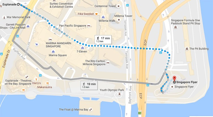 Walking direction to Singapore Flyer