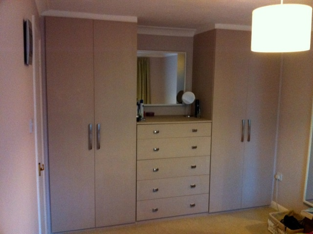 Beige painted mdf bedroom wardrobe  DIY Wardrobes Information Centre