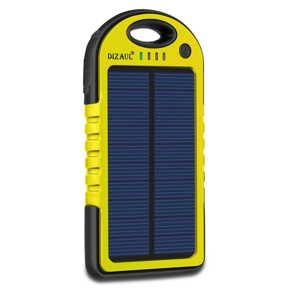 medium resolution of solar charger dizaul 5000mah portable solar power bank waterproof shockproof dustproof dual usb battery bank for cell phone samsung android phones