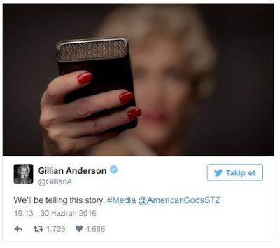 Gillian Anderson American Gods Resmini Paylaştı