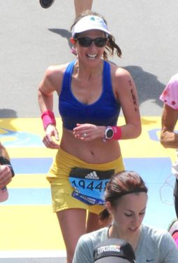 Elizabeth Clor Finishing the 2016 Boston Marathon