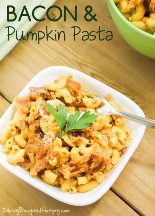 Bacon and Pumpkin Pasta | DizzyBusyandHungry.com - Macaroni with a creamy pumpkin sauce and tasty chunks of bacon make this dish a filling and delicious family hit!