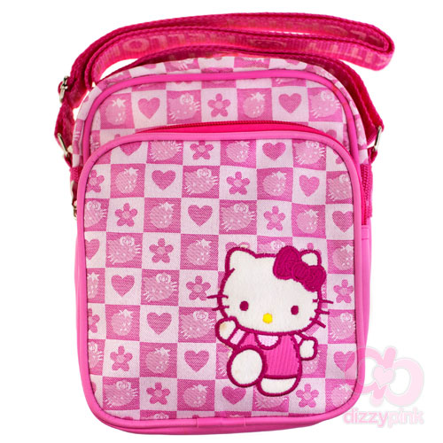 fb37d0532024 New In! Hello Kitty Pink Strawberry Check Double Pocket Bag – Dizzy ...