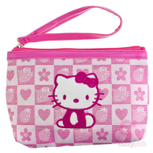6a419422e432 New In! Hello Kitty Pink Strawberry Check Clutch Purse – Dizzy Pink ...