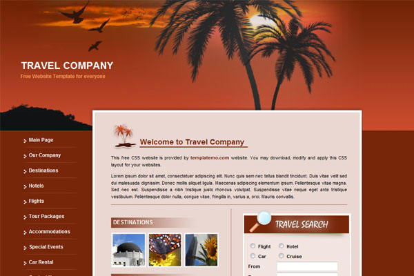 20 Best Free Travel Website Template 4