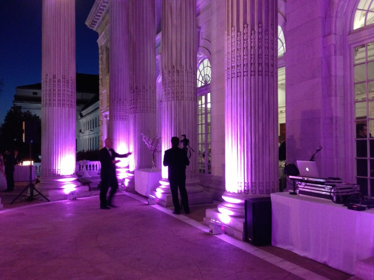 Our uplighting at Elizabeth & Mark's wedding at DAR HQ