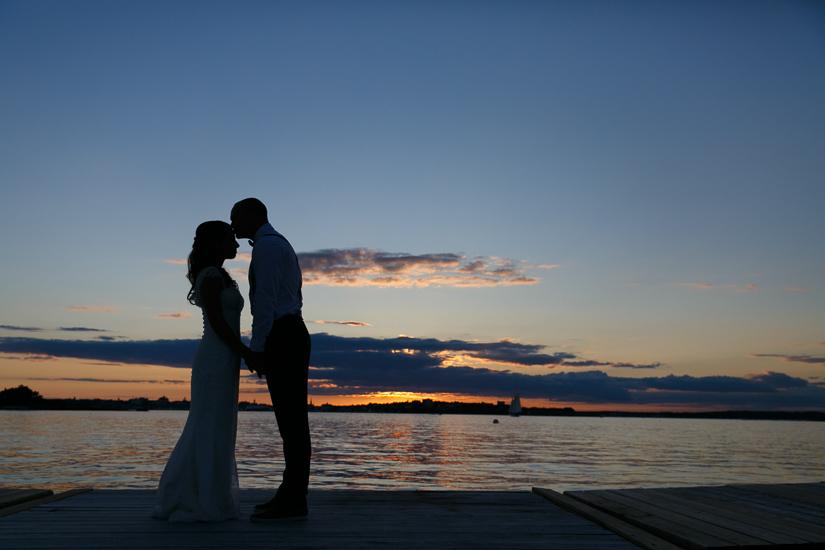 Cori & Beckett at sunset on Peaks Island