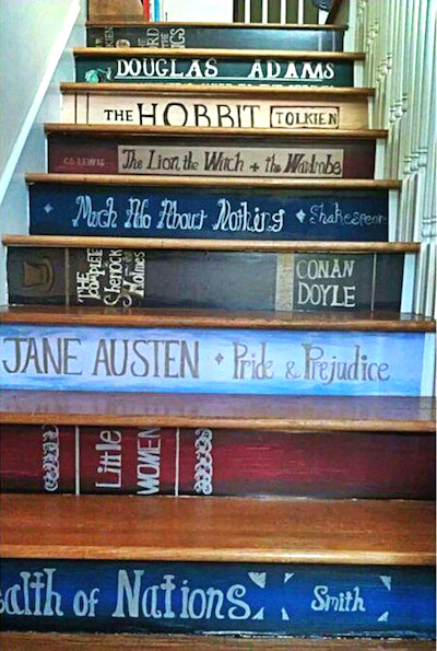 book reading staircase