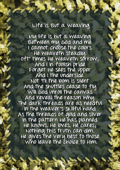 Tapestry poem used by Corrie Ten Boom