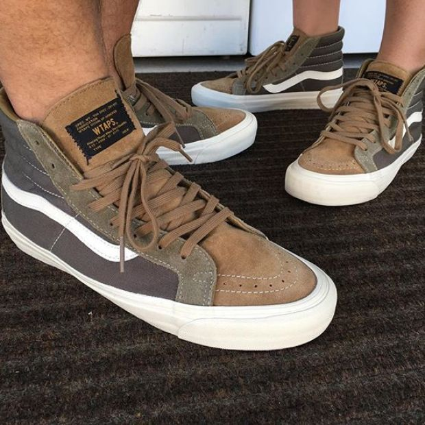 """Day 26 of @tintin7117 and I's #31daysofvans.  Vault x Wtaps OG Sk8-Hi LX """"Olive"""". Try finding another sz 6 out there!  #wtaps #wtapsvans #underthepalms #strictlywaffles #vansvault #vaultbyvans"""