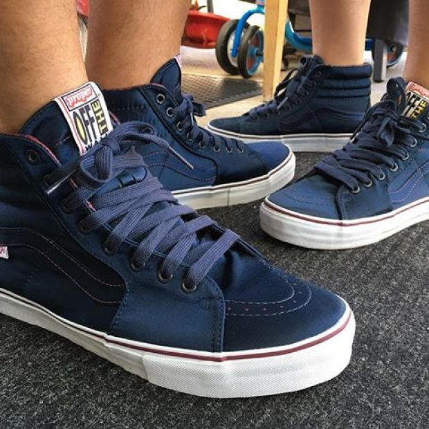 Day 27 of @tintin7117 and I's #31daysofvans.  The Vault x @properlbc Satin Sk8-Hi LX in Navy was the very first pair of Vans I got her, so these will always be one of my favorites.  Damn, Proper Vans have always been ten steps ahead of the game!  #properlbc #underthepalms #strictlywaffles #vansvault #vaultbyvans