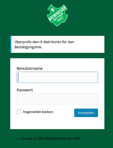 Passwort vergessen: Bestätigung