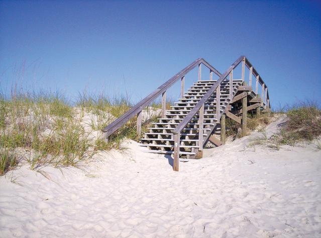 Wooden bridge in dunes