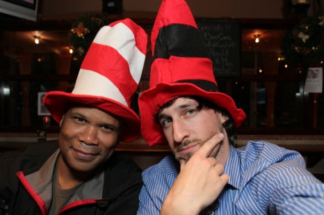 DJ Maskell and Dave Russell at the Stupid Hat Party