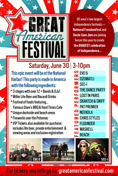 Great American Festival Washington DC Lineup with Eve 6 Maskell Neekola Pat Premier Flounder Chris Styles